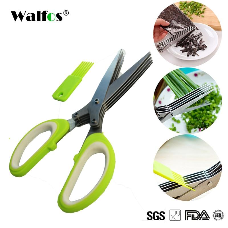 WALFOS רב תפקודי נירוסטה סכיני מטבח 5 להבים מספריים סושי קצוץ Scallion Cuttter עשבי תיבול מספריים מספריים
