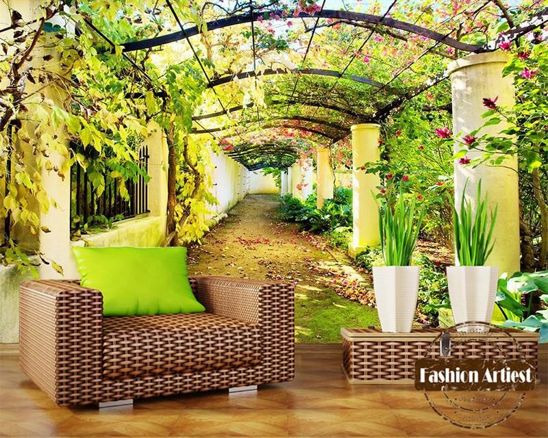 US $20.99 |Benutzerdefinierte 3d floral baum galerie tapete wandbild Garten  Eden sommer frieden landschaft tv sofa schlafzimmer wohnzimmer cafe ...
