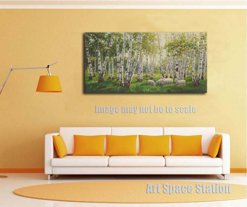 No Frame Large Landscape Oil Painting Impressionist White Birch Tree ...