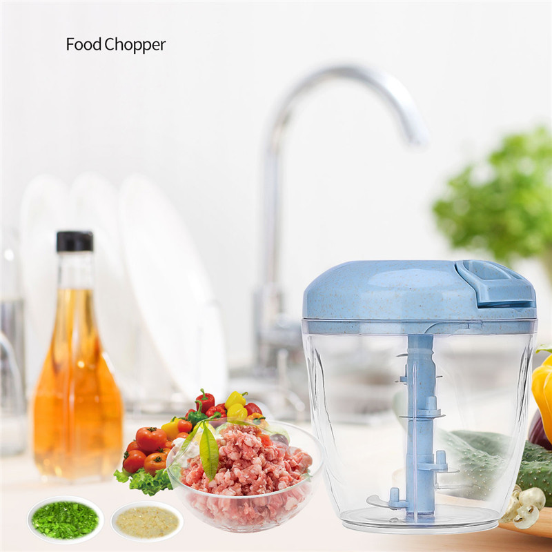 900ML Manual Food Chopper Multifunctional 5 Blades Meat Grinder Vegetable Fruit Quick Shredder Egg Blender Beater for Kitchen 49 nicer quick 5 in 1 dicer vegetable chopper for vip dropship