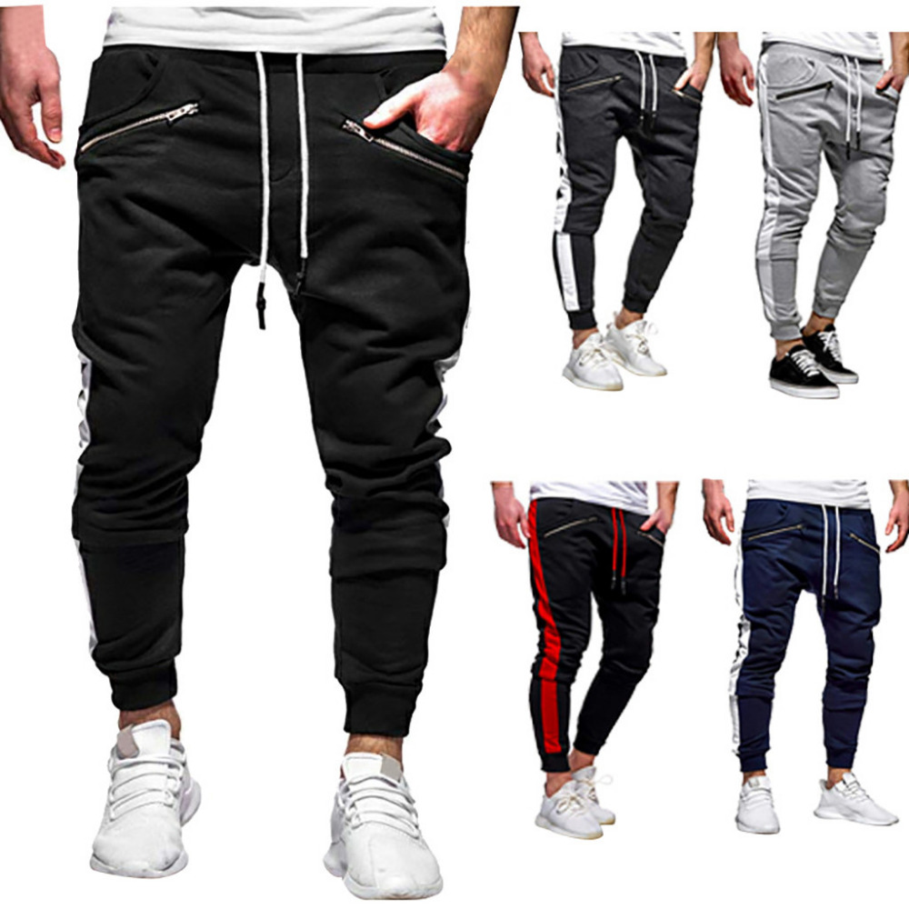 2019 Men\`s zipper solid color jogging pants casual pocket sports cargo pants outdoor sports harem pants men Quick drying 40J6 (1)