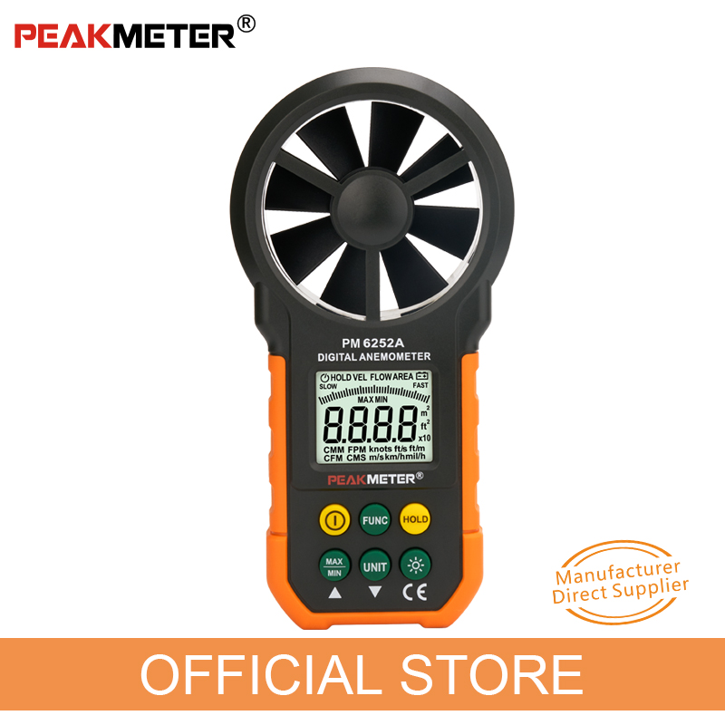 PEAKMETER MS6252A MS6252B Digital Anemometer Wind Speed Meter Air Flow Tester Meter Volume Ambient Temperature Humidity USB