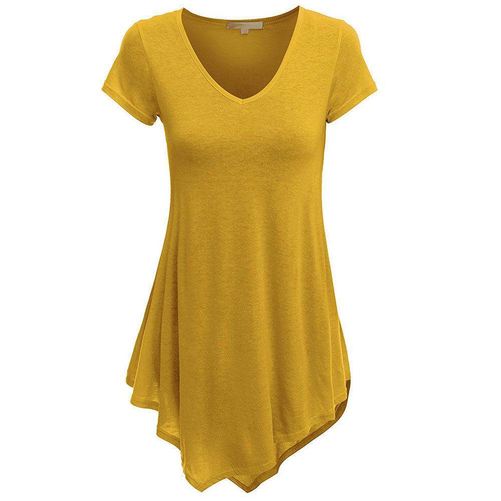 Westenra Womens Casual Loose T Shirt Dress Long Sleeve Asymmetrical