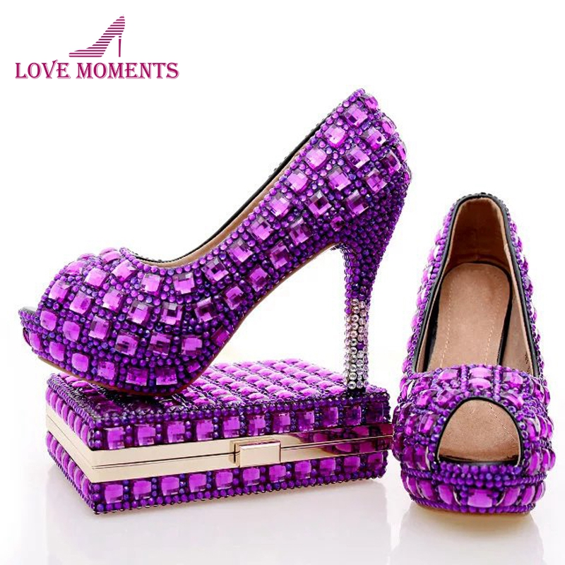 Purple Rhinestone Bridal Wedding Shoes with Clutch Bag Peep Toe Crystal Party Pumps Graduation Party Heels with Matching Bag aidocrystal silver color open toe pumps ladies high heels wedding party crystal slingback shoes with matching bag