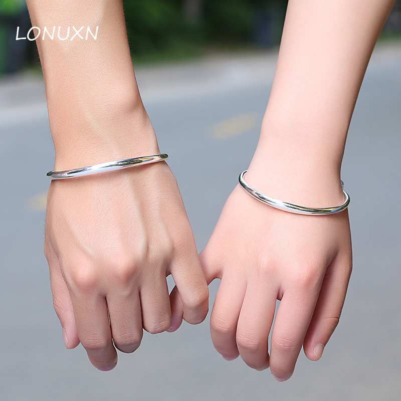 A pairs 999 Sterling Silver Bracelet female students to send his girlfriend Korean couple lettering bracelet male lovers gift цены
