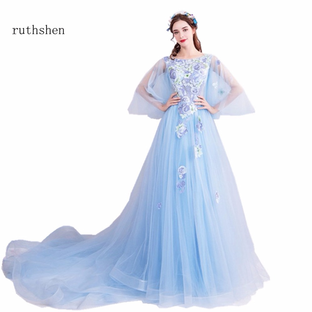 ruthshen Long Sleeves   Prom     Dresses   2018 Light Blue A Line Party   Dresses   Beaded Appliques Special Party Gowns For Occasions 2018