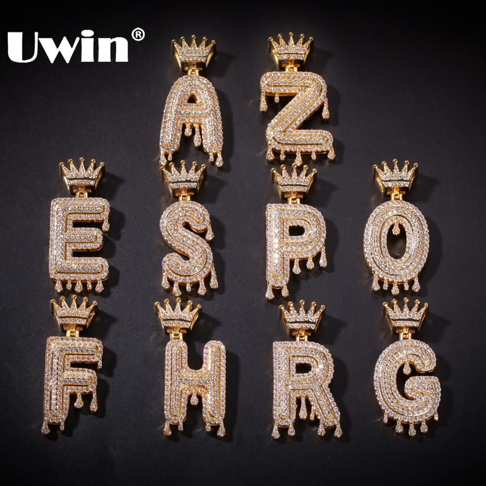 Uwin Letters Pendant Jewelry Name Necklace Crown Iced-Out Gifts Cubic-Zirconia Pave 26