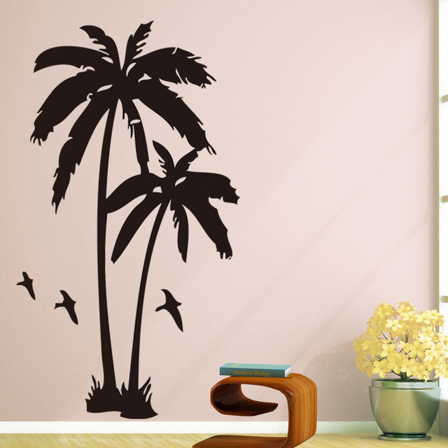 coconut palm vinyl decal nature scene wall sticker home decors-in