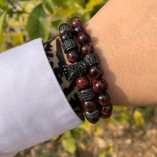 Luxury crown mens Bracelet Pave CZ cylinder charms red Tiger eye stone beads Bracelets bangles for jewelry Pulseira hombres