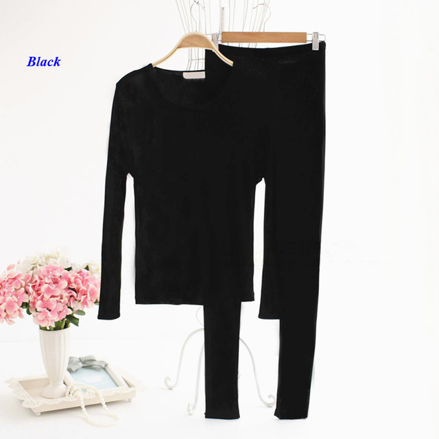 100% silk knitted lady round neckline long johns,double-faced knitted pure silk long sleeve underwear set women