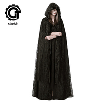 steelsir Gothic Black Long Lace Poncho Trench Women Dark Halloween Robe with Cap Wizard Costume Maxi Witch Cloak Cape Steampunk