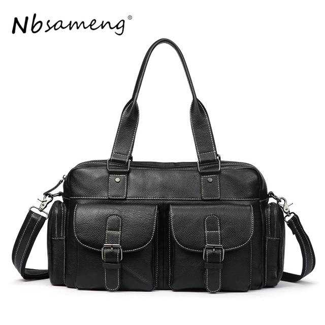 New Fashion 2018 Men Handbags Genuine Cowhide Leather Business Crossbody Bags Leather Book Casual Bags big pocket pad genuine business greased leather cowhide travel crossbody 14laptop shoulder messenger book shopping fashion bags