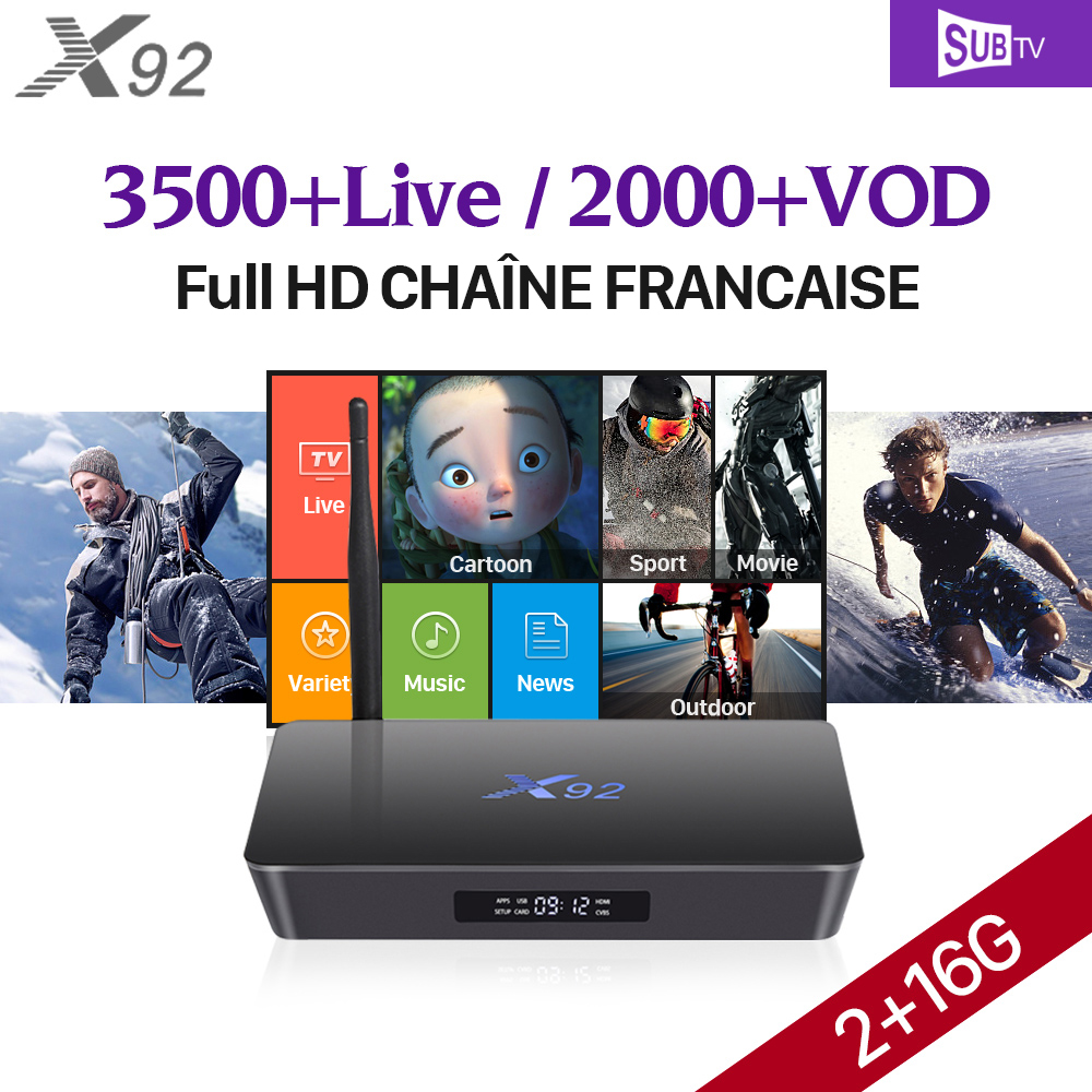 X92 TV Box Europe Arabic French 3500 IPTV Channels SUBTV Subscription IPTV French Arabic Turkish Smart Android 7.1 TV Box X92 full hd french iptv arabic brazil iptv box android 6 0 smart tv box subtv code subscription 3500 turkish albania ex yu iptv box
