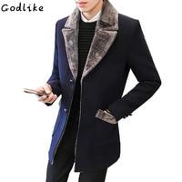New Arrival Winter Men's Medium Long Woolen coat Fur Collar Warm Male Solid Color Slim Casual Windbreaker Jacketplus size 5XL