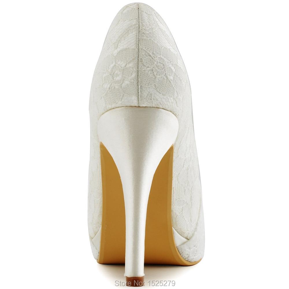 Tacón Con Zapatos Piedras Encaje Mujeres Nupcial Marfil Plataforma Diamantes Alto Bombas De Noche Partido Blanco Boda Falsas Tarde Del Hc1413p Plisado qFw1a77