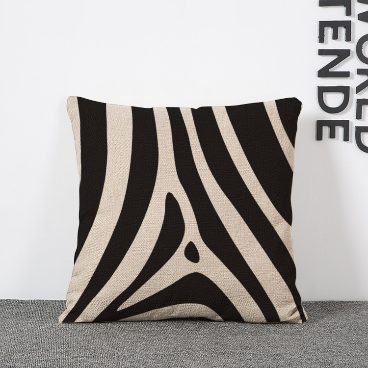 Horse Black And White Stripes Office Cushions Decorative - Sofa Cushions Black And White