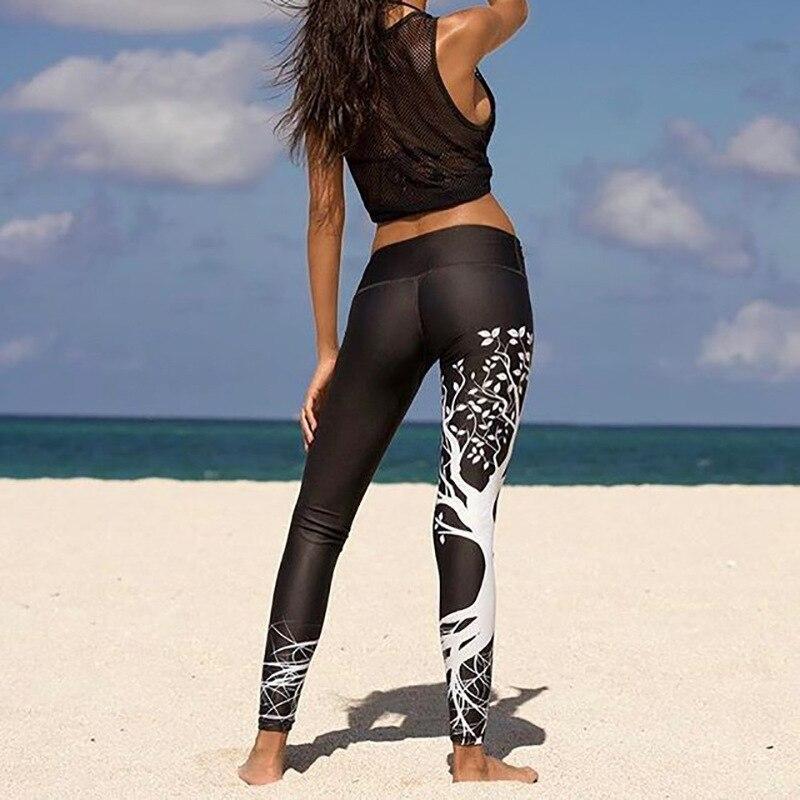 Kostlich Spring Tree Print Women Workout Leggings Put Hip Elastic High Waist Fitness Legging Breathable Slim Pants Women Leggins (4)