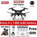 Syma x5sw x5sw-1 wifi rc drone quadcopter con fpv cámara sin cabeza 6-axis tiempo real rc helicóptero quad copter toys vs x5c