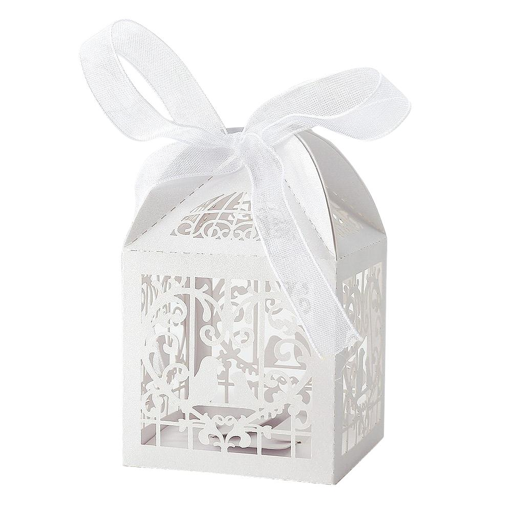 SDFC 50x Dragees Box Candy Heart White Bird Cage for Wedding Baptism