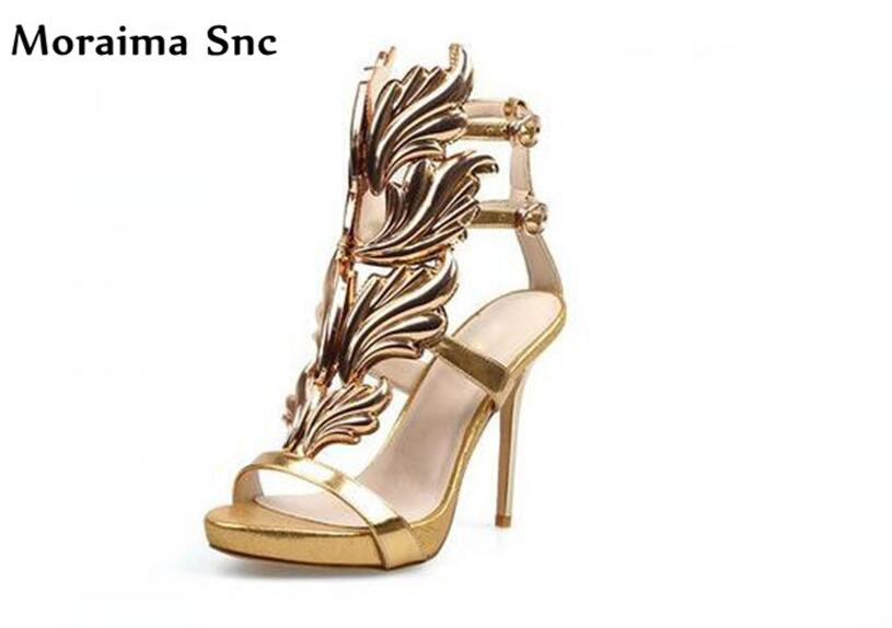 Moraima Snc Leaves Decoration sexy thin high heels fashion women sandals platform buckle strap open toe newest women shoes moraima snc newest sexy women black string bead concise type sandals open toe thin high heel ankle strap hook solid party shoes