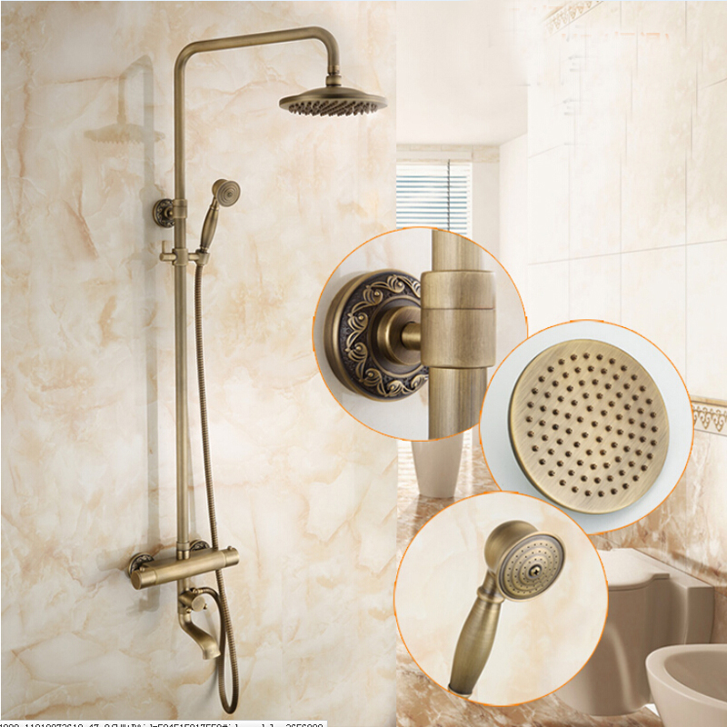 Wholesale And Retail Antique Brass Wall Mounted 8 Round Rain Shower Head Faucet Tub Spout Mixer Tap Thermostatic Valve