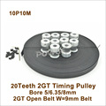 POWGE 10 шт. 20 зубцов 2GT зубчатый шкив Диаметр 5/6.35/8 мм + 10 метров GT2 синхронный ремень W = 9 мм 20 T 20 зубчатый GT2 ременный шкив