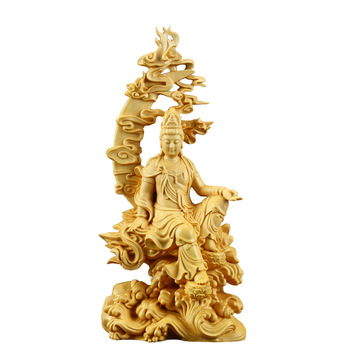 18cm Wooden Spray Avalokitesvara Bouddha Figure,Chinese Style Figure Buddha Statue Folk Wood Buda Carving Home Decor R1533