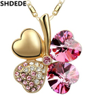 SHDEDE Women Gift Bride Wedding Jewelry Crystal from Swarovski Lucky Clover Pendant Necklace Gold Color Short Chain -905