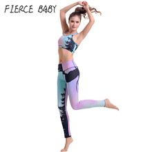 Deer Fitness Workout Clothing And Women's Yoga Set Calisthenics Exercise Girls Slim Leggings Tops Bra Pants Sport Suit Female