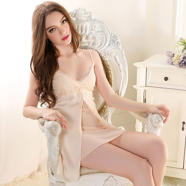2016 Imitated Silk Nightdress Women's Nightgown Sexy Suspenders Nightdress Temptation Lace Embroidery Slim Lingeriedressing gown