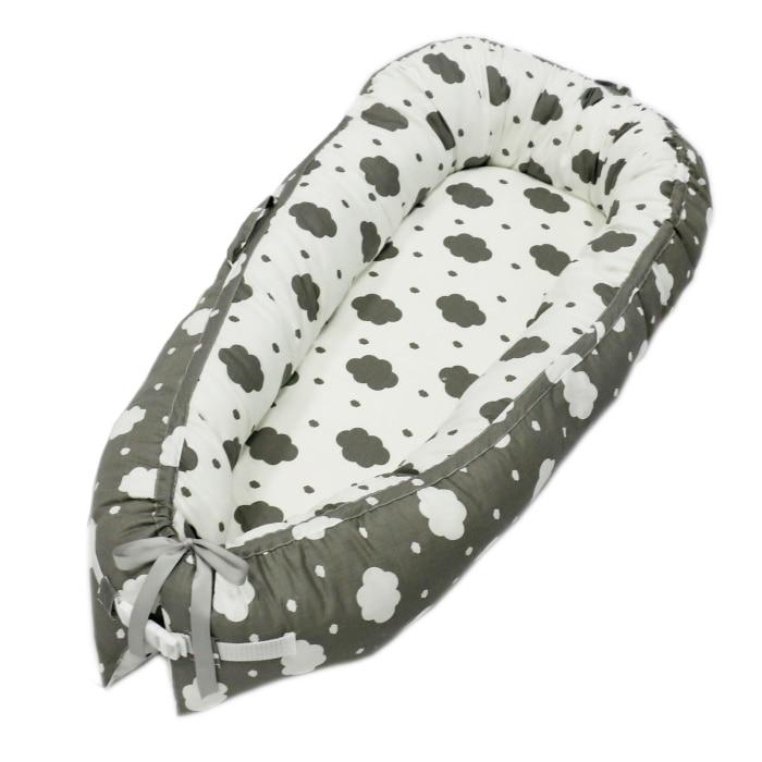 Разборные Детские гнезда кровать или малыша Размер гнезда, мята и совы, портативная кроватка, co спальное место babynest для новорожденных и малышей - Цвет: Cloud Two-sided