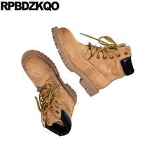 women british chunky  combat front lace up casual ankle boots autumn vintage shoes