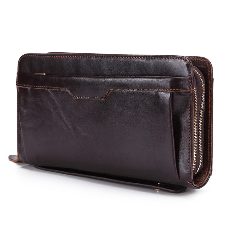 New Business Men's Long Wallets Natural Real Leather Male Organizer Cow Genuine Leather Cash Purses Clutch Men Card Holders
