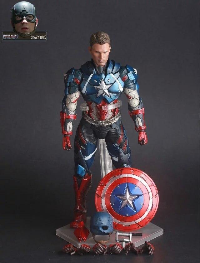 <font><b>Avengers</b></font> 3 <font><b>Captain</b></font> <font><b>America</b></font> CRAZY TOYS PVC Action Figure Collectible Models Toys 25cm KT2433