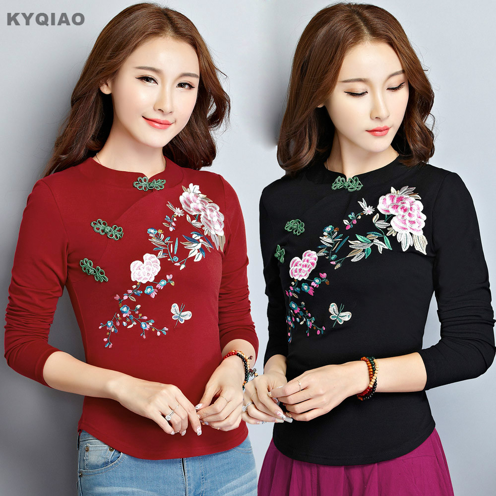 KYQIAO Plus size traditional Chinese clothing 2019 autumn ethnic long sleeve stand collar handmade frog embroidery   blouse     shirt