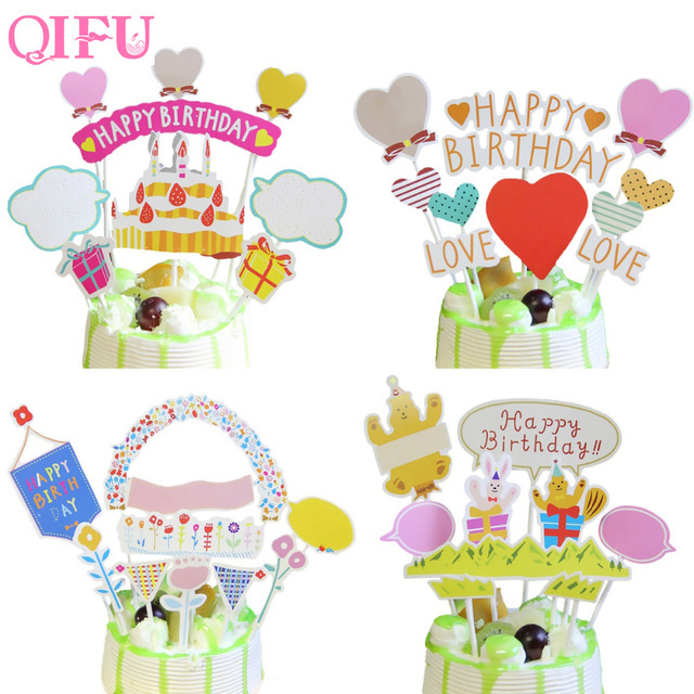 QIFU 1set Happy Birthday Cake Toppers DIY Flags Kids Party Favors Decoration Baby