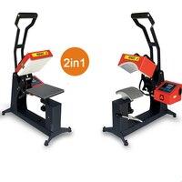 2 in 1 Digital Double Display Cap Heat Press Machine 15x15CM Logo Printer DIY Sublimation Printer Label Printing Machine