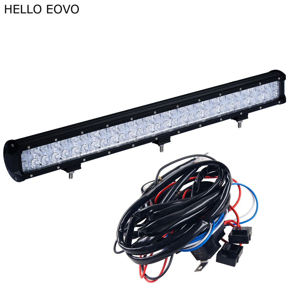 HELLO EOVO 7D 28 inch 300W LED Work Light Bar for Tractor Boat OffRoad 4WD 4x4 Truck SUV ATV Spot Flood Combo Beam tripcraft 12000lm car light 120w led work light bar for tractor boat offroad 4wd 4x4 truck suv atv spot flood combo beam 12v 24v