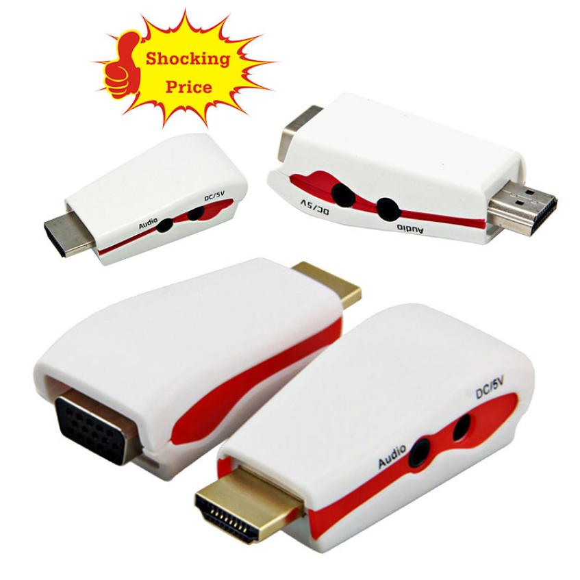HIPERDEAL 1080P HDMI Male to VGA Female Video Converter Adapter +USB Power Audio Cable PC Drop Shipping 1J24 ...