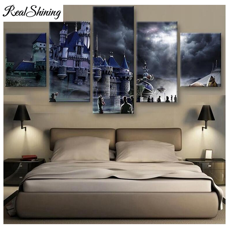 realshining 5d diamond embroidery magic school castle multi picture 3d diy rhinestones painting home decoration needlework fs890 in diamond painting cross