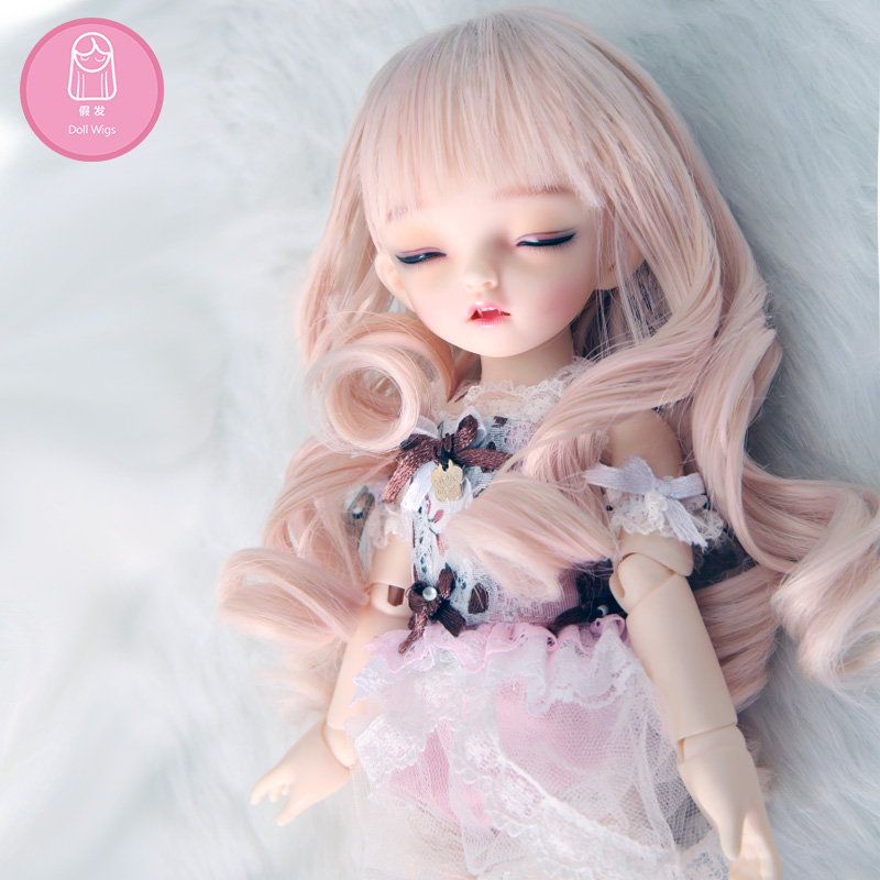 BJD Wig 1/6 6-7 inch High Temperature Wig Girl Long Curly Hair BJD Doll Wig For NAPI AI Potato Free Shipping long curly green synthetic lace front cosplay party wig