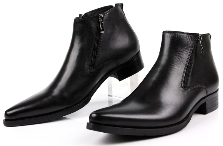 EUR46 Large size wholesale free shipping 2016  fashion cool black Zipper genuine leather  mens boots Pointed Toe man dress shoes