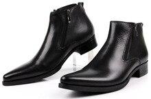 Grande taille EUR46 2017 nouvelle mode noir/front bronzage hommes cheville bottes robe chaussures en cuir véritable bout pointu homme d'affaires chaussures