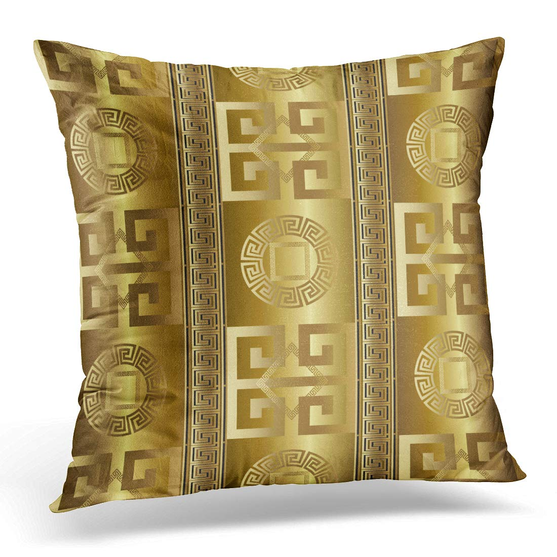 Throw Pillow Covers Case  Modern Abstract Geometric Gold 3D Vintage Greek Key Squares Circles Pillowcase Cushion