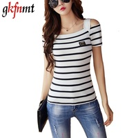 Stripe Off Shoulder Women Tops 2016 Fashion Casual Short Sleeve T Shirt Elegant Slim Sexy Summer