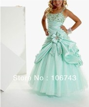 free shipping 2014 new Girl Kids Pageant Dress Dance Party Princess Ball Gown vestidos dress long beading Flower Dresses
