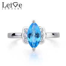 Leige Jewelry Swiss Blue Topaz Ring Cocktail Party Ring Marquise Cut Blue Gemstone 925 Sterling Silver November Birthstone Ring