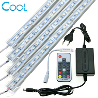 RGB LED Light bar set 12 V 5050 RGB llevó la tira rígida + 17key RF RGB controlador remoto Adaptadores de corriente.