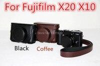Vendita calda per il nuovo modello protettiva staccabile pu custodia in pelle per fotocamera fujifilm fuji x10 x20 fotocamera con la cinghia, spedizione Gratuita