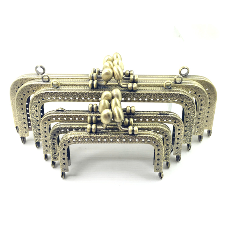 10Pcs Bronze Tone Flower Embossed Rectangle Metal Frame Kiss Clasps Lock Purse Handbags Bag Handle Accessories in Jewelry Findings Components from Jewelry Accessories